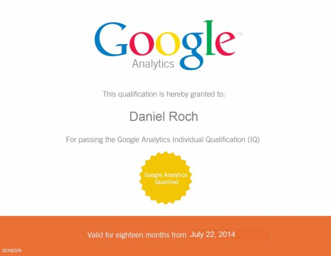 Certification Google Analytics de Daniel Roch