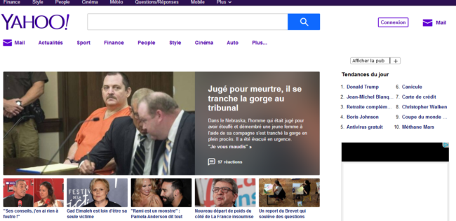 Accueil du site Yahoo