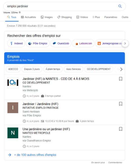 Offres d'emploi sur Google