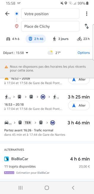 Google Maps et Blablacar
