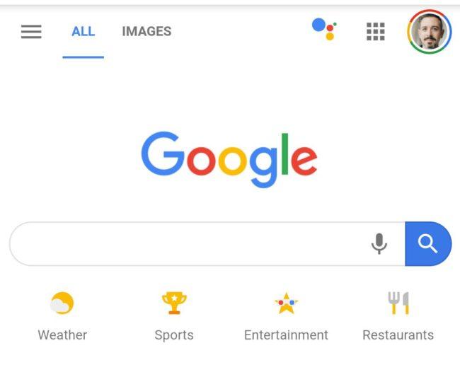 Google page d'accueil mobile