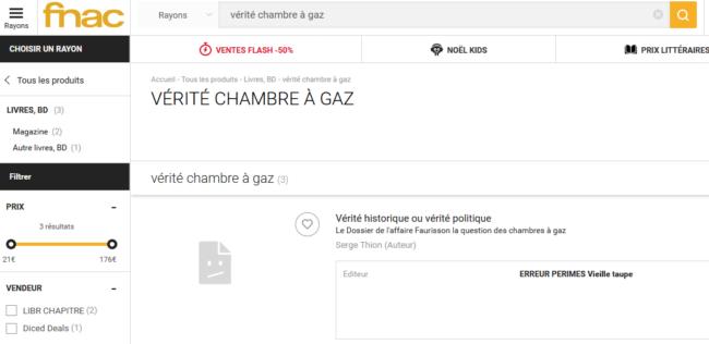 """Recherche """"Chambre à Gaz"""" sur un site ecommerce"""