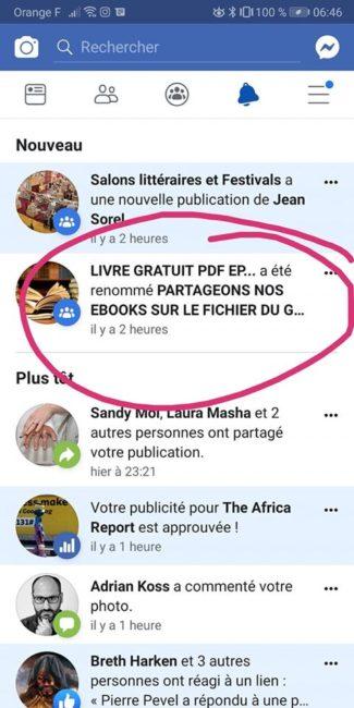 Groupe Facebook qui vole des e-bookss